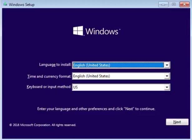 اختيار لغة الويندوز والتوقيت ولغة لوحة المفاتيح الأساسية